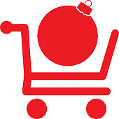 Vector illustration of a christmas ornament in  a red shopping cart.