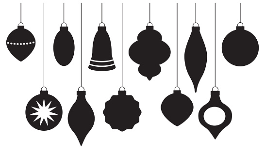 Vector silhouettes of eleven hanging Christmas ornaments on a white background.