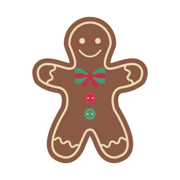 Christmas Ornament Vintage Felt Ginger Man Decoration Christmas gingerbread man cookie. Vintage craft decoration toy from chocolate. New Year hand sew decor. Xmas ginger man spicy cookie, decorated crisp ginger biscuit for winter holiday. gingerbread man stock illustrations