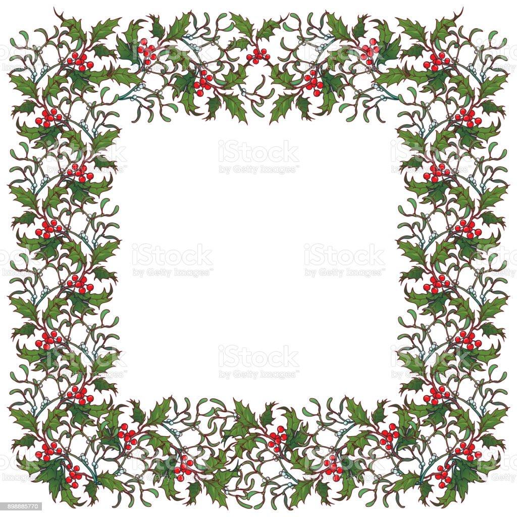Weihnachtenornamentrahmen Holly Zweige Mit Blättern Und Beeren ...