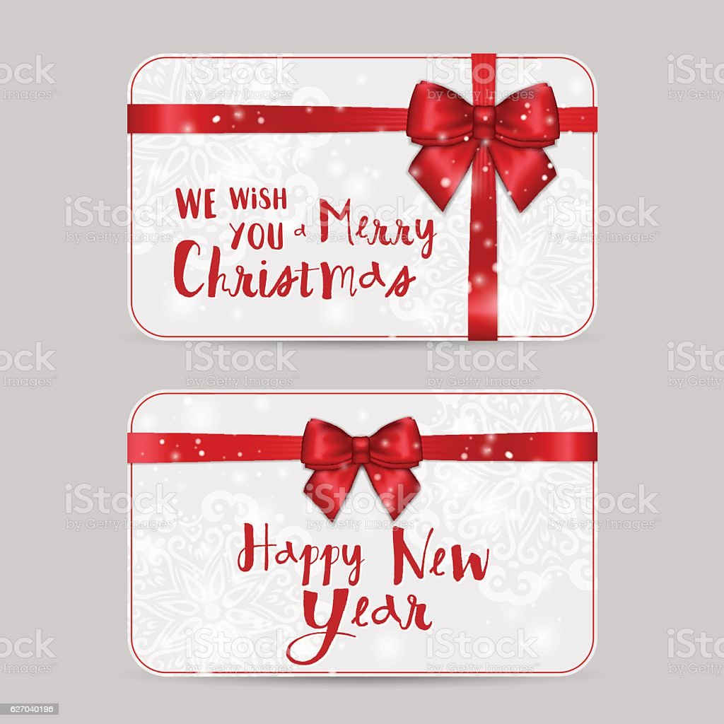 Christmas Ornamental Greeting Card Templates With Holiday Red Ribbon Bow Royalty Free