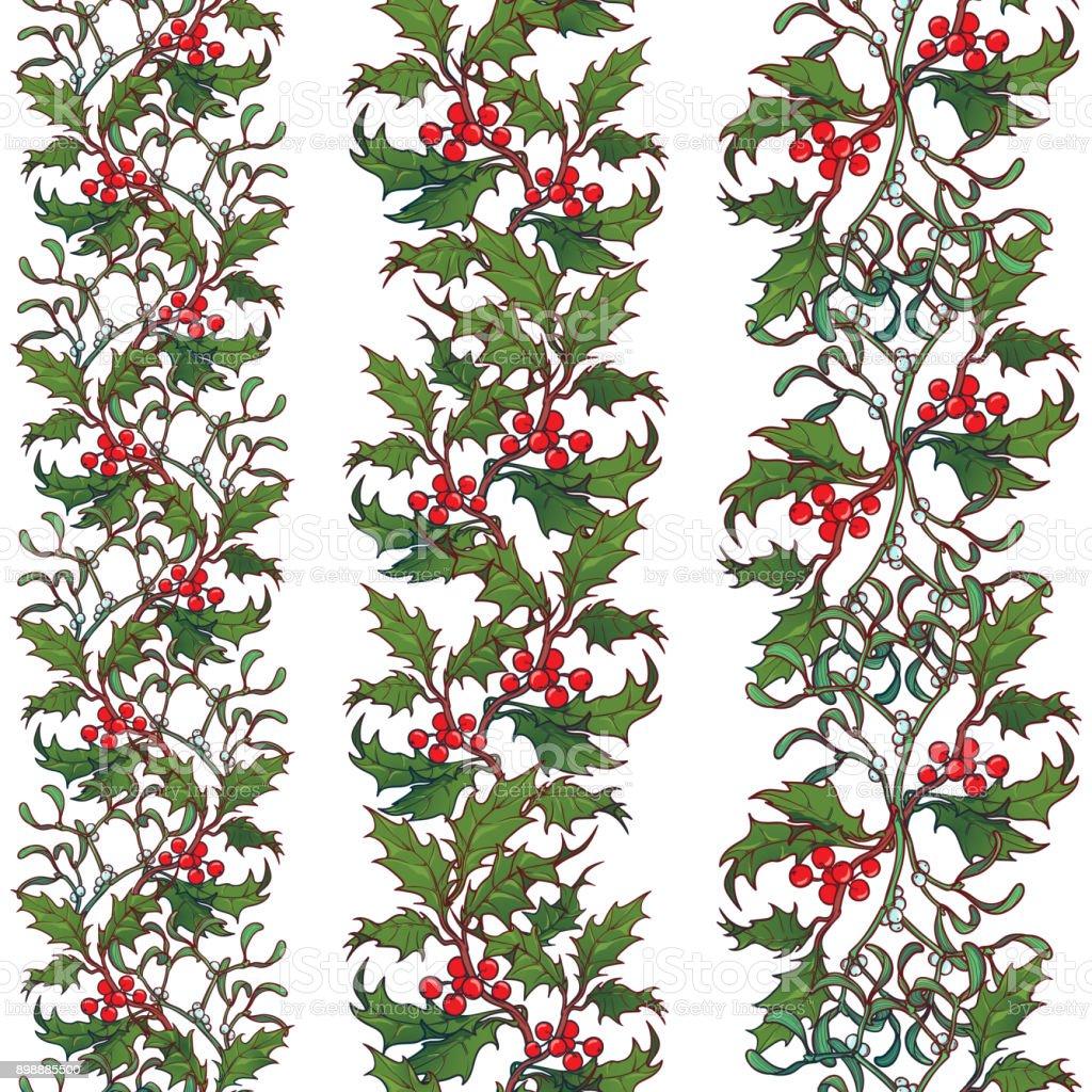 Weihnachten Dekorative Nahtlose Grenzen Holly Und Mistel Zweige Mit ...