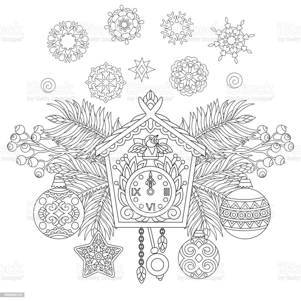 Christbaumschmuck Um Wanduhr Kuckuck Vektor Illustration 898988250