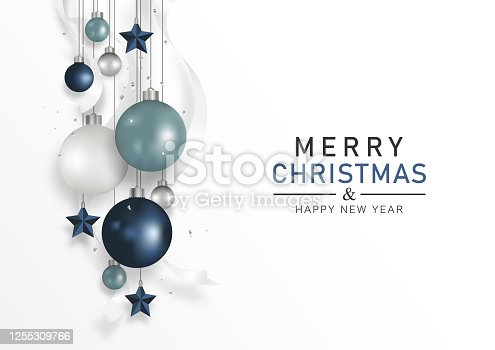 Christmas ornaments. Christmas ball dark blue, light blue, and white balls, decoration with stars and ribbon hanging on white background. Xmas banner. Vector illustration.