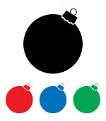 Vector illustration of four Christmas ornament icons.