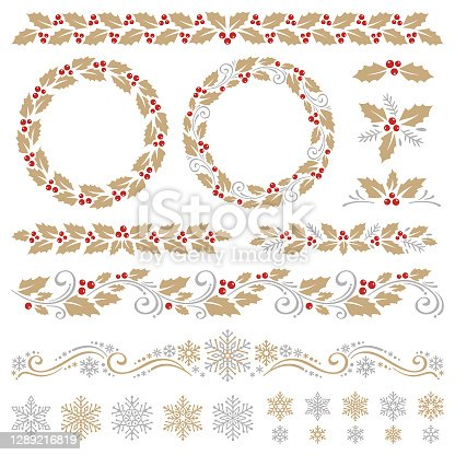 Christmas ornaments with holly and snowflakes. Vector design elements