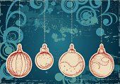 Vintage Christmas Ornaments on grunge background with swirls. Mix of computer graphics with hand drawn elements. Only gradients used. High res jpeg included.