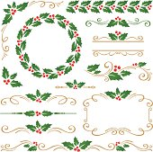 Christmas design elements with holly