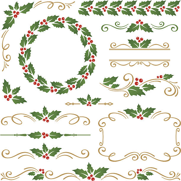 Christmas ornaments Christmas design elements with holly berry fruit stock illustrations