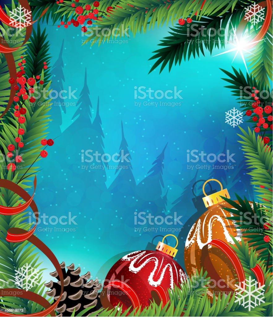 Christmas Ornaments With Ribbon On Blue Background Stock