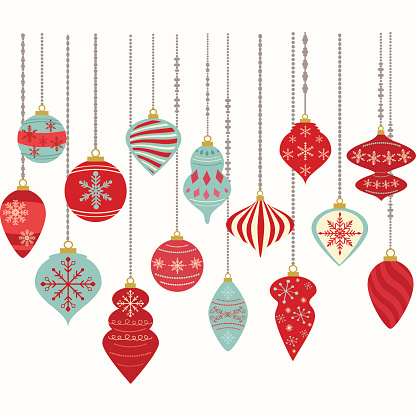 Christmas Ornamentschristmas Balls Decorationschristmas Hanging Decoration Set向量圖形及更多2015年圖片