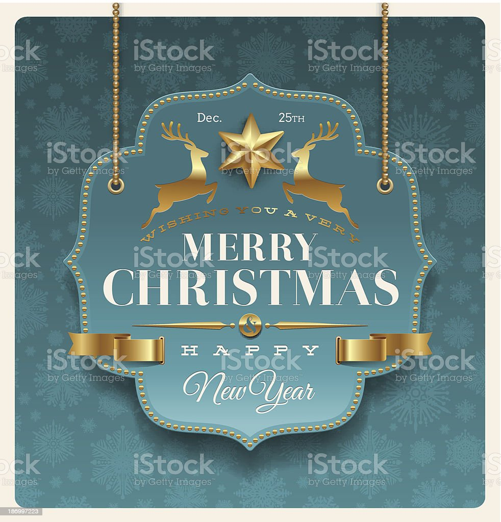 Christmas ornate labels with holidays greeting royalty-free stock vector art