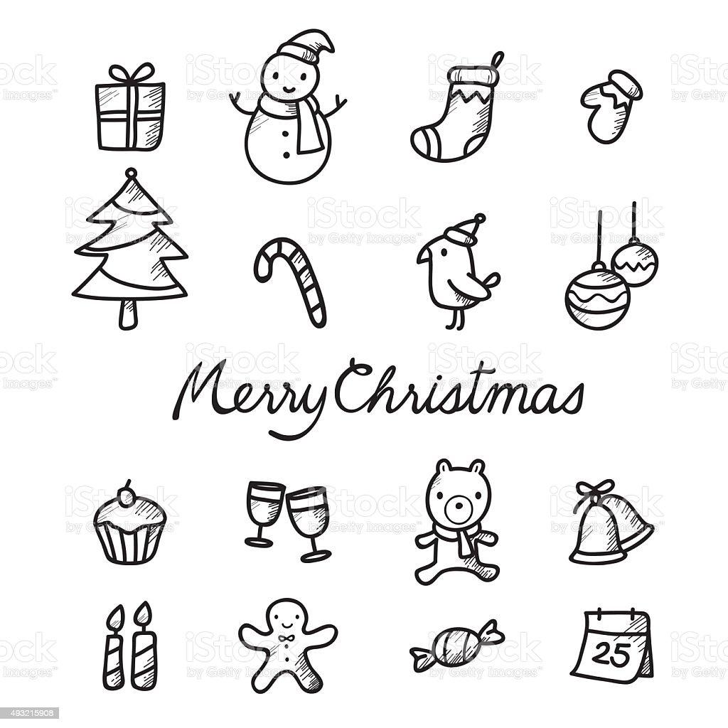 christmas outline icons set monochrome stock vector art 493215908