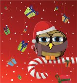 Christmas owl sitting on top of a candy cane, in a background are a rain of presents.