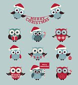 Merry Christmas! Set of cute owls for holiday design. Vector icons isolated on pale blue background.