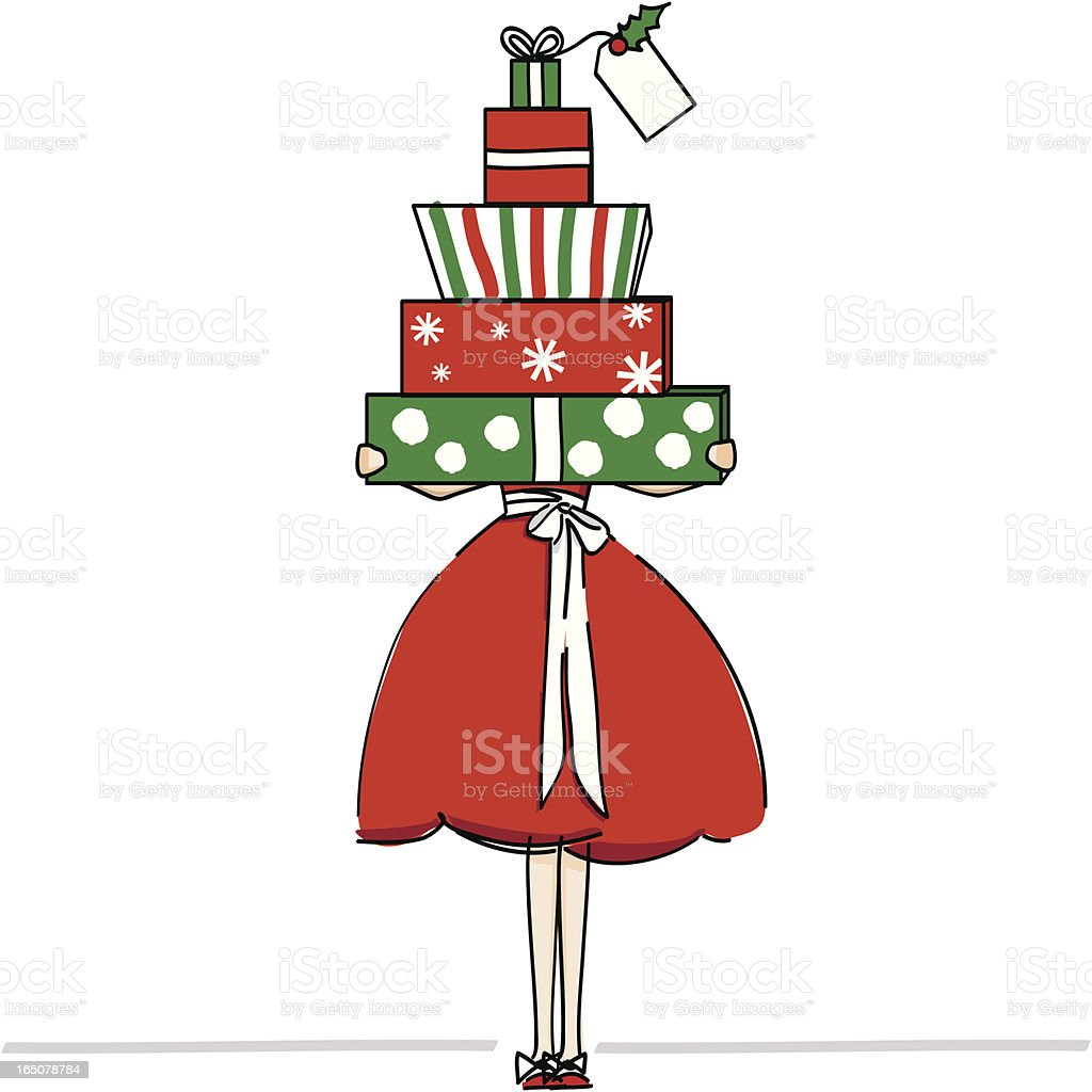 Christmas packages in red and green vector art illustration