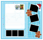 Fun and colorful Christmas page with empty frames, space for text and lots of usable elements.