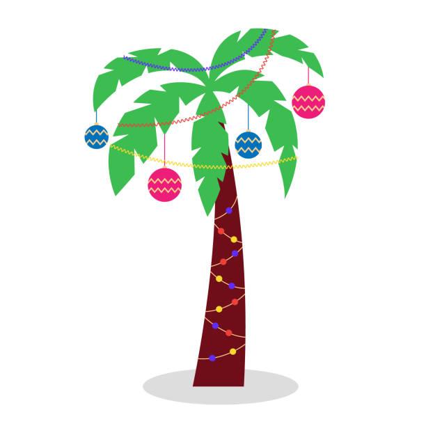 bildbanksillustrationer, clip art samt tecknat material och ikoner med julpalm med girlanger av glitter och jul leksaker - hand tänder ett ljus