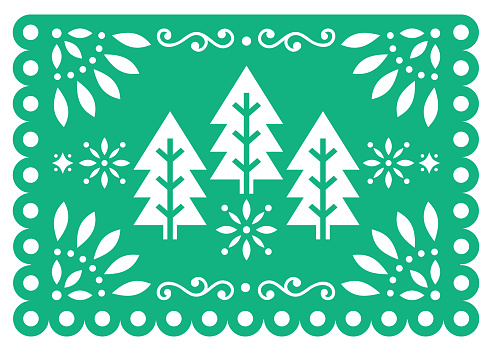 Christmas Papel Picado vector design with Xmas trees, Mexican winter paper party decorations, green and white 5x7 greeting card pattern