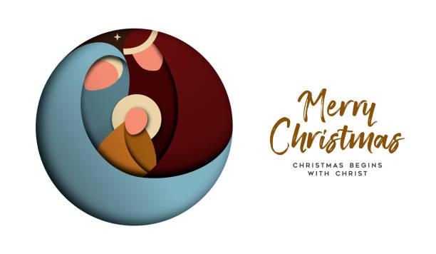 ilustrações de stock, clip art, desenhos animados e ícones de christmas paper cut card for christian celebration - jesus cristo