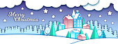 Holiday x-mas background with houses,pine trees, night sky.Season banner with craft winter landscape