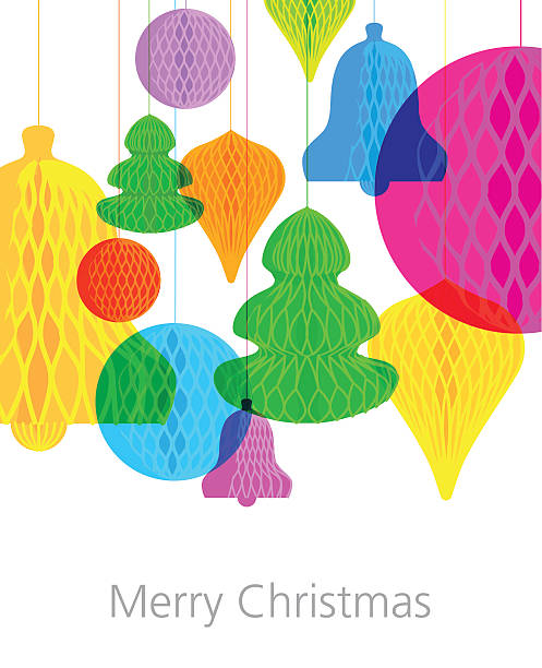 illustrazioni stock, clip art, cartoni animati e icone di tendenza di christmas paper decorations greeting - carta velina