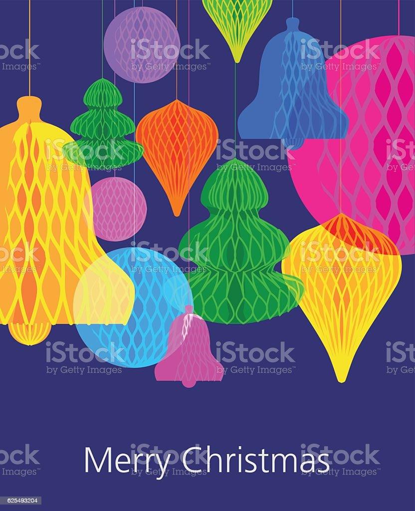 Christmas paper decorations Greeting vector art illustration