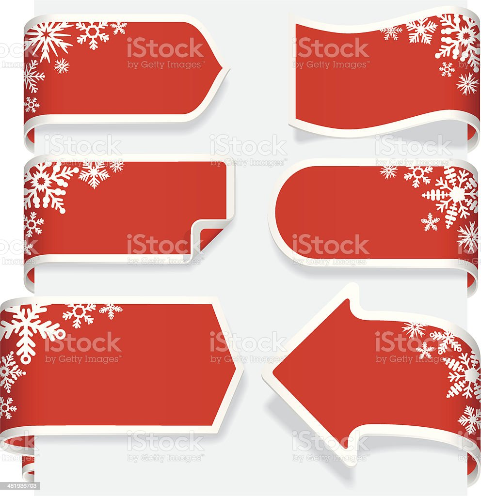 Christmas Paper Ribbon Banner label tags royalty-free stock vector art