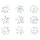 Vector set of white and blue christmas paper snowflakes with shadow on white background. Holiday, New year and Christmas design elements