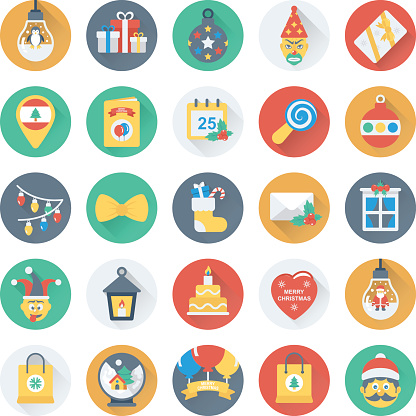 Christmas, Party and Celebration Vector Icons 10