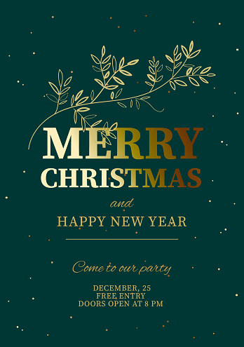 Christmas party and Happy New Year design template, Holiday poster, vector illustration.