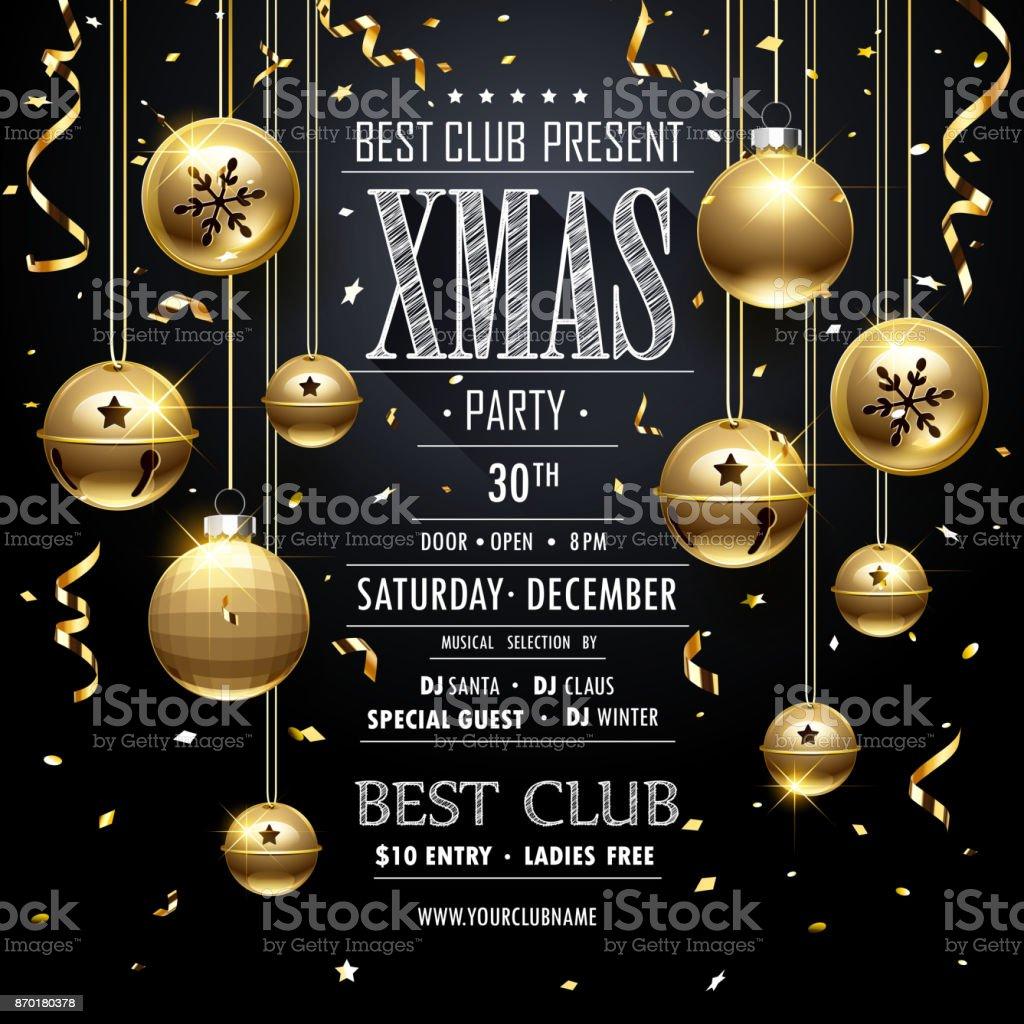 Christmas Party design Black vector art illustration
