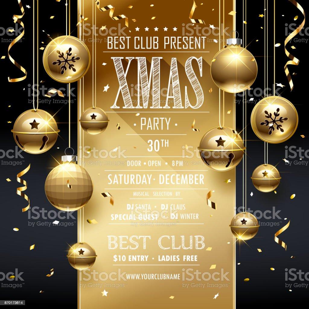 Christmas Party design Golden vector art illustration
