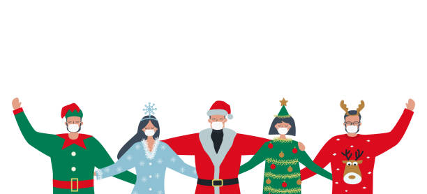 Christmas party during the coronavirus epidemic. Young people in medical masks wearing Christmas costumes vector art illustration