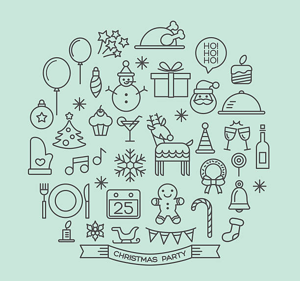 illustrazioni stock, clip art, cartoni animati e icone di tendenza di party di natale icone set di elementi di contorno - christmas cooking