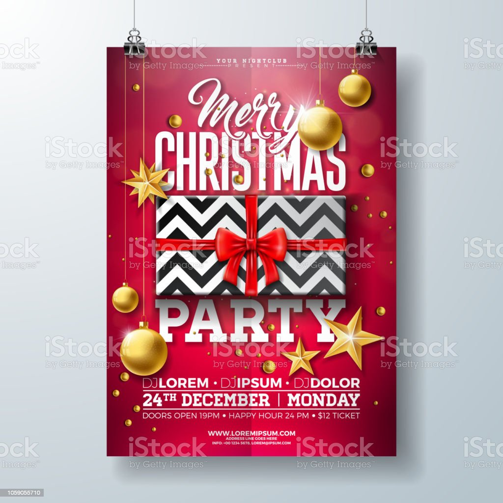 Christmas Party Flyer Illustration With Gift Box Gold Star Glass