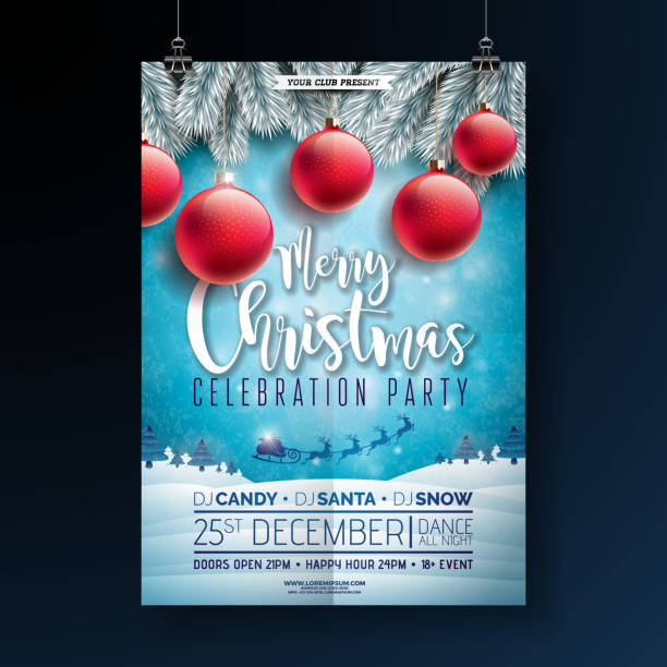 christmas party flyer illustration with typography lettering and holiday elements on winter landscape background. vector celebration poster design template for invitation or banner. - christmas background stock illustrations