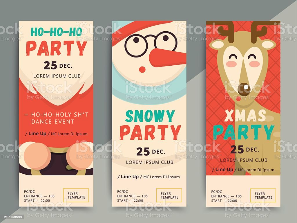 Christmas Party Flyer Template Design Xmas Poster In Funny Cart