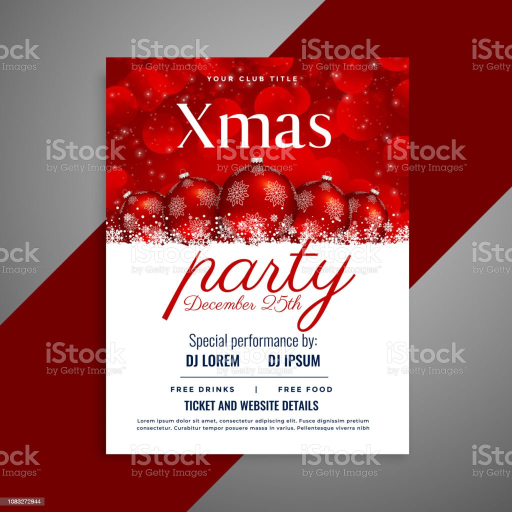 Christmas Party Flyer.Christmas Party Flyer With Red Balls And Copyspace Stock Illustration Download Image Now