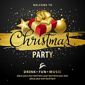 An invitation to the Christmas party with gift and decorations on golden paintbrush and stars background