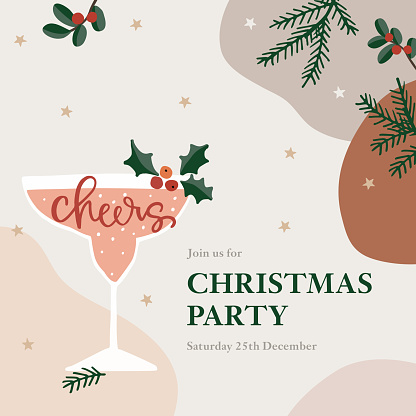 Christmas party greeting card, invitation. Cocktail, wine glass with holly berries. Cheers handletterd text. Winter celebration concept. Abstract background with fir branches, stars and cranberries.