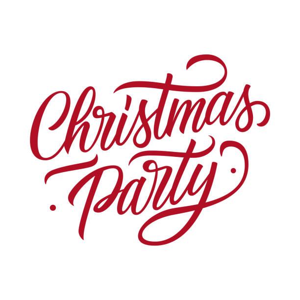 stockillustraties, clipart, cartoons en iconen met christmas party hand getrokken belettering tekst kaart ontwerpsjabloon. creatieve typografie voor kerstmis partij posters en uitnodigingen. - party