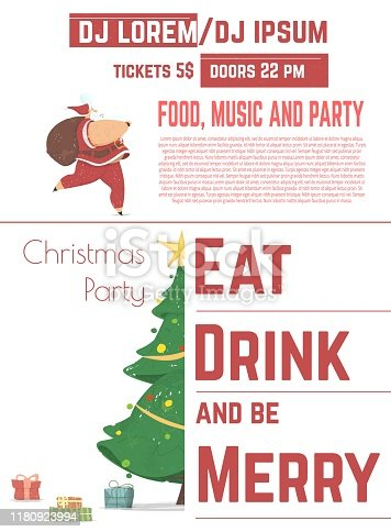 Christmas Party with DJ Music Performance Cartoon Vector Advertising Flyer, Promo Poster or Invitation Card Design Template. Christmas Gifts Under Decorated Spruce, Running Santa Claus Illustration