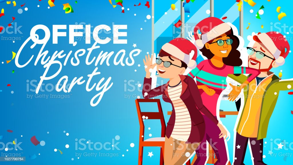 Christmas Party In Office Vector. New Year s Hats. Having Fun. Happy Business People. Cartoon Illustration vector art illustration