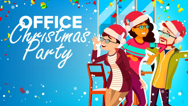 christmas party in office vector. new year s hats. having fun. happy business people. cartoon illustration - office party stock illustrations, clip art, cartoons, & icons