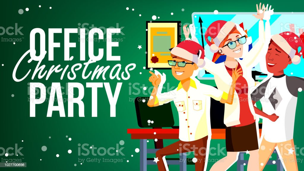 Christmas Party In Office Vector. Santa Hats. Friends In Office. Merry People. New Year s Hats. Cartoon Illustration vector art illustration