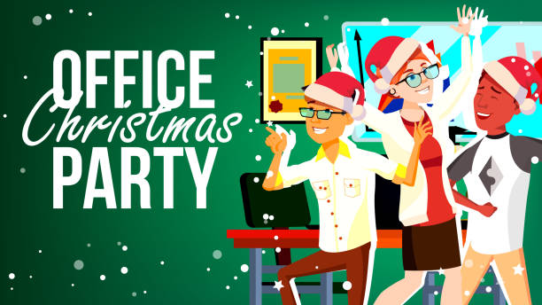 christmas party in office vector. santa hats. friends in office. merry people. new year s hats. cartoon illustration - office party stock illustrations, clip art, cartoons, & icons