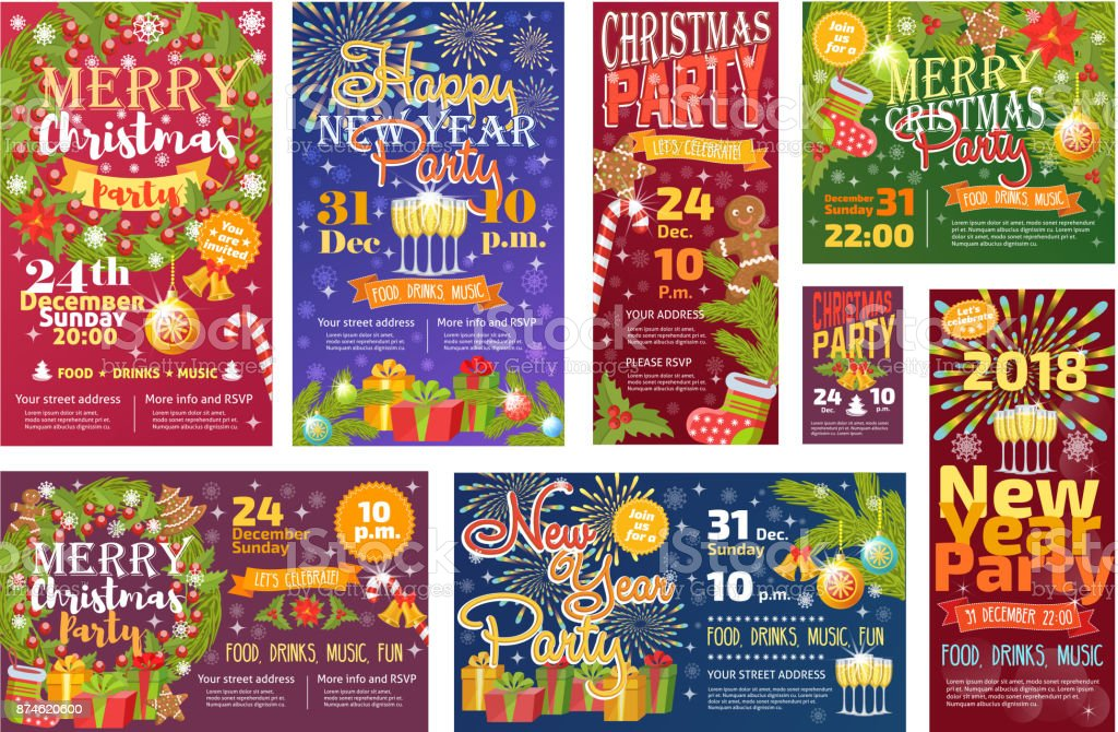 christmas party invintation vector card background design template for noel xmas holiday celebration clipart new year