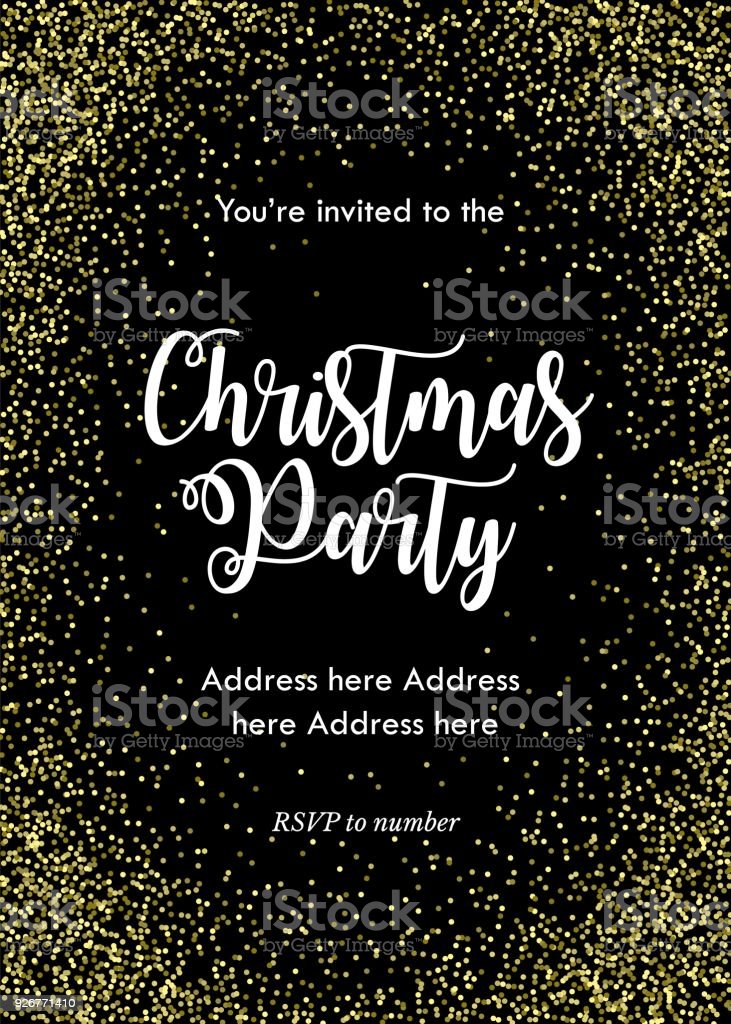 Christmas Party Invitation Card Template Black With Golden Confetti