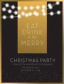 Vector illustration of a Christmas party invitation design template. String lights and golden giltter. Easy to edit with layers.